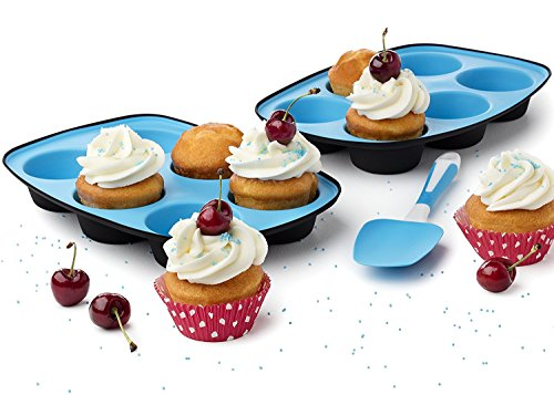 Muffin Pans Set of 2 Baking Tray Cupcake Maker with Strong Flexible Silicone Spatula