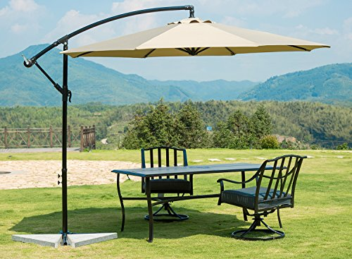 SUNBRANO 10 Ft Cantilever Offset Patio Umbrella Outdoor Aluminum Hanging Umbrella with Crank and Air Vent, 8 Ribs, Taupe