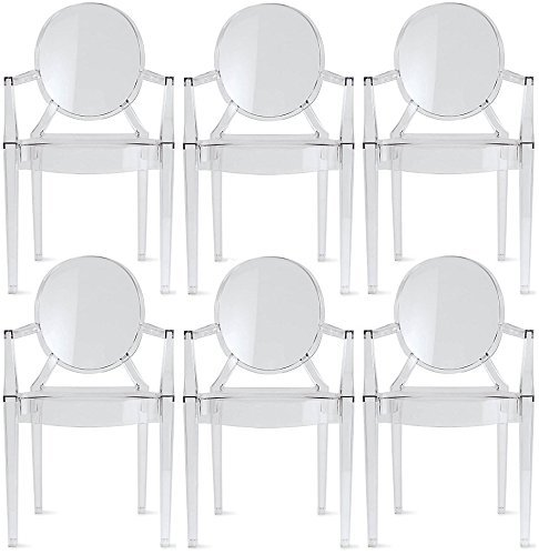 2xhome – Set of 6 Modern Ghost Chair Armchair with Arm Polycarbonate Plastic (6 Arm Chair Set)