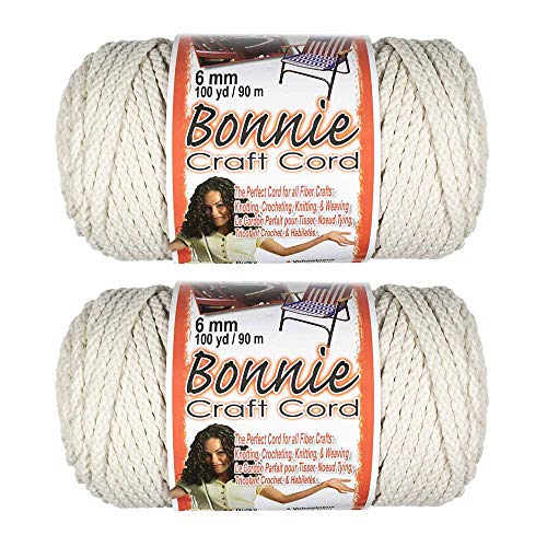 - 2 Pack 6mm Bonnie Cord - for a Variety of Crafting and Macramé Projects - 100 Yards of Cord (Lamb's Wool)