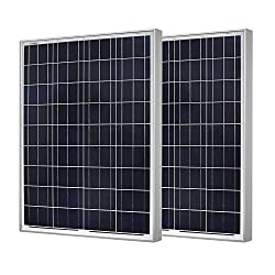 RENOGY 2 Pcs 100 Watt 100w Polycrystalline Photovoltaic PV Solar Panel Module 12V Battery Charging for RV Boat Caravan