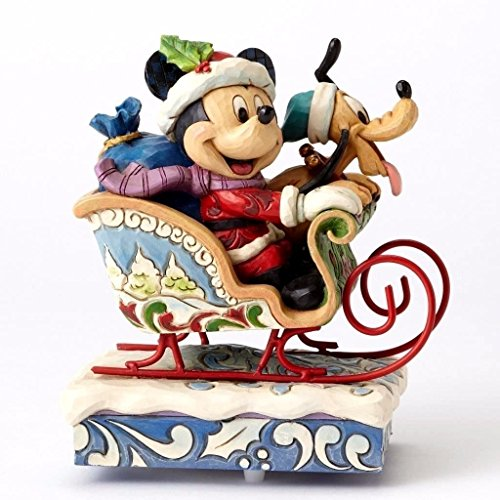 Figurine Up Wind Santa Musical - Jim Shore Disney Traditions  Mickey and Pluto Laugh All The Way Musical Figurine