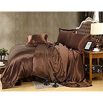 Image of 600TC 1 Piece 500GSM Fiber Fill Comforter Hospital Size Chocolate Solid 100% Silky Satin - by AP Beddings Home and Kitchen