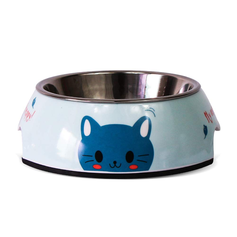 blueecat SStainless Steel Dog Bowl NonSlip Pet Bowl Dog Food Bowl Thickened One Bowl Dualuse Dog Bowl Cat Bowl,Ocean,L