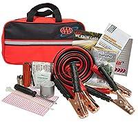 Lifeline 4330AAA Black AAA Premium Road, 42 piezas de emergencia Cables de puente de coche, linterna y botiquín de primeros auxilios