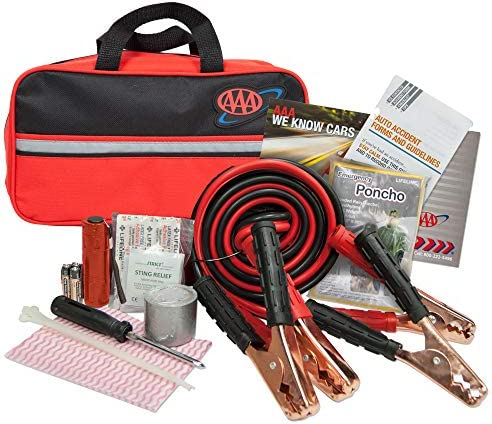 Lifeline AAA Premium Road Kit, 42 Piece Emergency Car Kit with Jumper Cables, Flashlight and First Aid Kit,4330AAA,Black