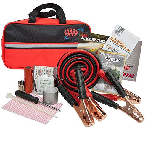Emergency Kits Roadside - Lifeline 4330AAA Black AAA Premium Road, 42 Piece Emergency Car Jumper Cables, Flashlight and First Aid Kit