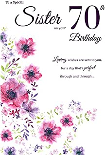 Sister 70th birthday card quality nice verse amazon office icg sister 70th birthday card big pink purple lilac glitter flowers 9 bookmarktalkfo Image collections