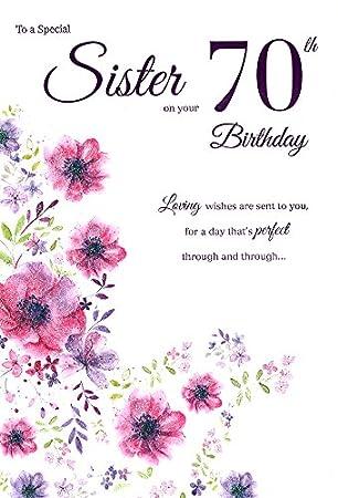 Icg Sister 70th Birthday Card Big Pink Purple Lilac Glitter