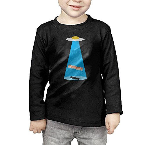 HTTQ Bacon And Egg Alien Spaceship UFO Kids Children Unisex Long Sleeve Cotton Crew Neck T-Shirt Tee 3 Toddler