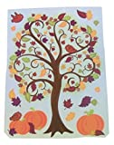 Harvest Leaves Reusable Window Clings ~ Beautiful Fall Tree with Birds and Pumpkins (12 Clings, 1 Sheet)