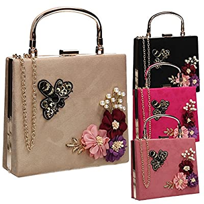 Thea Suede Floral Bee Womens Vintage Party Prom Box Clutch Bag - SWANKYSWANS