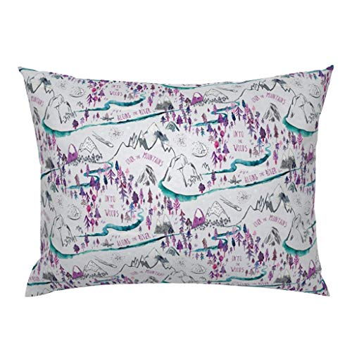 Roostery Pillow Sham, Kid' Girl' Room Decor Nursery Adventure Pink Purple Blue Tomboy Print, 100% Cotton Sateen 26in x 26in Knife-Edge Sham (Tomboy Decor Room)
