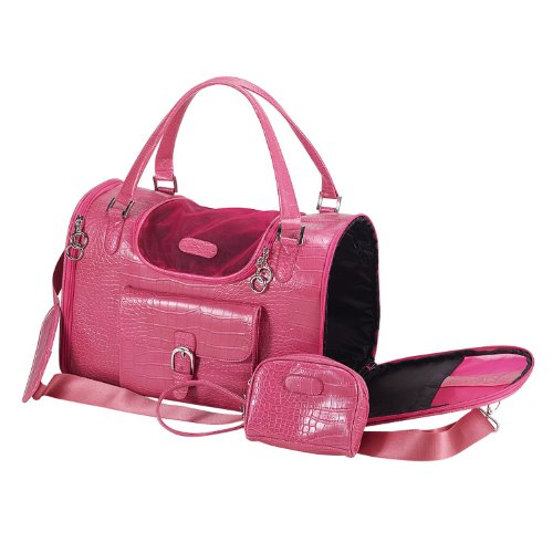 Faux-Crocodile Travel Bag w/Matching Coin Purse Tote Carrier -- Pink by (Faux Crocodile Pet Carrier)