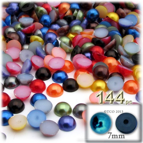 144pc Pearl finish Half Dome Beads, Round, 7mm, Jewel Tone Mix (Bead Mix Jewel)