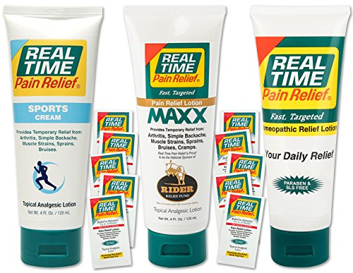 (Real Time Pain Relief Stay Active Pack, Sports Cream, Daily Relief, MAXX Relief, 10 Pain Cream Travel Packs)