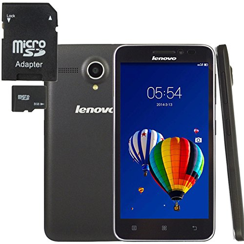 Lenovo A606 4G Unlocked Smartphone (with 8GB TF Card) 5.0 inch Android 4.4 MT6582M + 6290 Dual Core 1.3GHz ROM 4GB+RAM 512MB, 5MP Multilanguage GPS FDD-LTE & WCDMA & GSM (Phone+ 8GB TF Card)