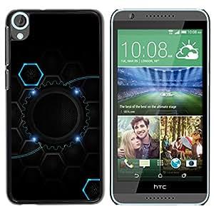 TopCaseStore / la caja del caucho duro de la cubierta de protección de la piel - Cool Black Blue Gear Hive - HTC Desire 820