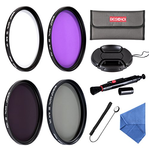 Beschoi 67mm UV CPL FLD Filters, Neutral Density ND4 Filter Kit for Canon Nikon and Other Camera Lenses with 67mm Filter Size, with Lens Cap, Cap Keeper, Cleaning Pen, Filter Pouch Bag, Cleaning Cloth by Beschoi