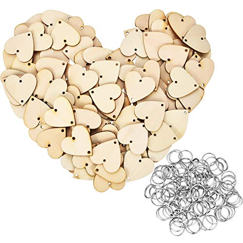 Bememo 100 Pieces Heart Shaped Wooden Discs Wood Tags with 2 Holes and 100 Pieces Rings for Birthday Board Calendar DIY Crafts (Size 2)
