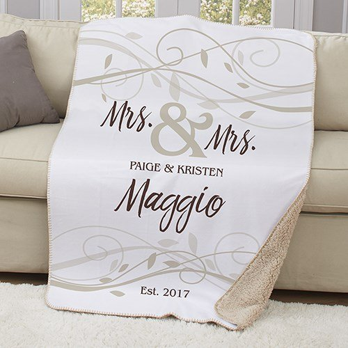 Personalized Sherpa Couples Throw. Mr & Mrs/Mr &