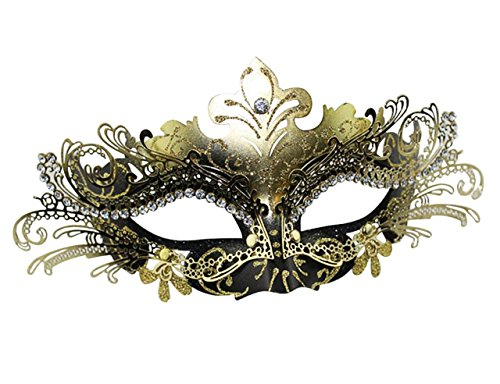 Masquerade Mask Fancy Dress Costume Party Face Masks Metal Rhinestones]()