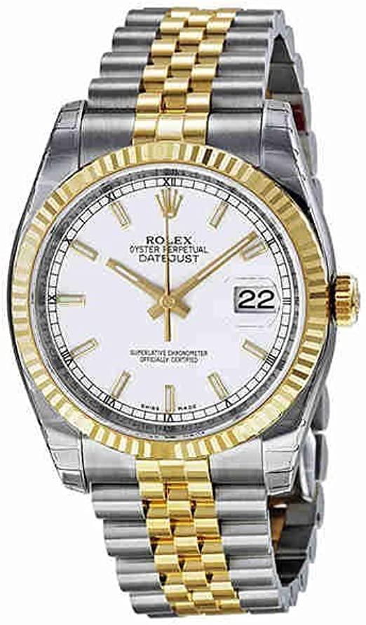 Rolex Datejust White Index Dial Jubilee Bracelet Fluted Bezel Two tone Mens Watch 116233WSJ