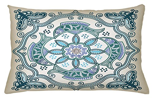 Victorian Wide Bench (Lunarable Floral Throw Pillow Cushion Cover, Victorian Butterfly and Curved Fish Pattern Eastern Shabby Chic Image, Decorative Accent Pillow Case, 26 W X 16 L Inches, Teal Beige Violet Blue)