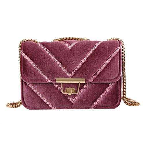 Jagenie Pink Handbag Women Shoulder Luxurious Velvet Bag Messenger Tote Bag Crossbody Chain Green