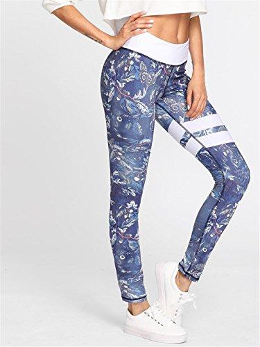 KLDDZQ Soutiens-gorge de sport Femmes taille haute Fitness Yoga Run Sport pantalons imprimé Stretch Nine Points Leggings
