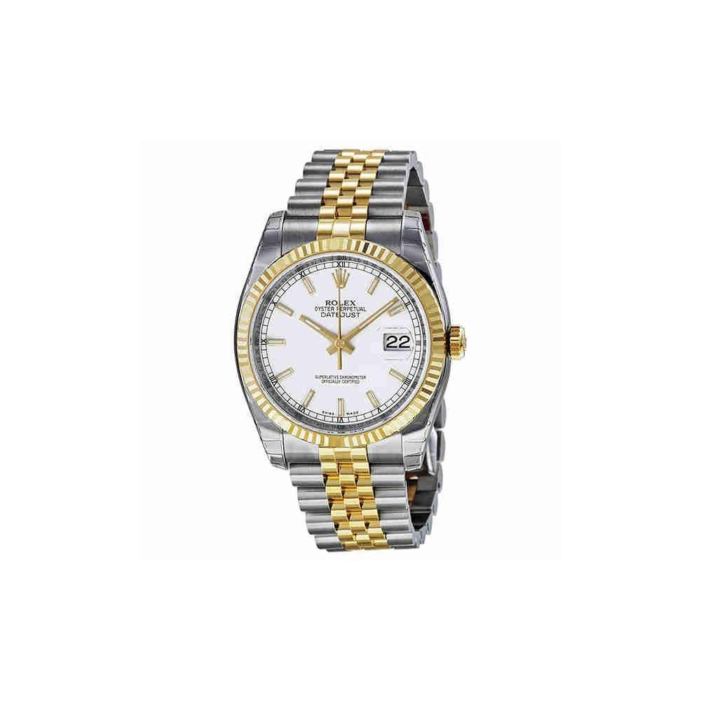 Rolex Datejust White Index Dial Jubilee Bracelet Fluted Bezel Two,tone Mens  Watch 116233WSJ