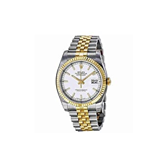 a224c77a580 Image Unavailable. Image not available for. Color: Rolex Datejust White  Index Dial Jubilee Bracelet Fluted Bezel Two-tone Mens Watch 116233WSJ