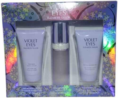 Elizabeth Taylor Violet Eyes Gift Set for Women (Eau De Parfum Spray, Shower Gel, Lotion )