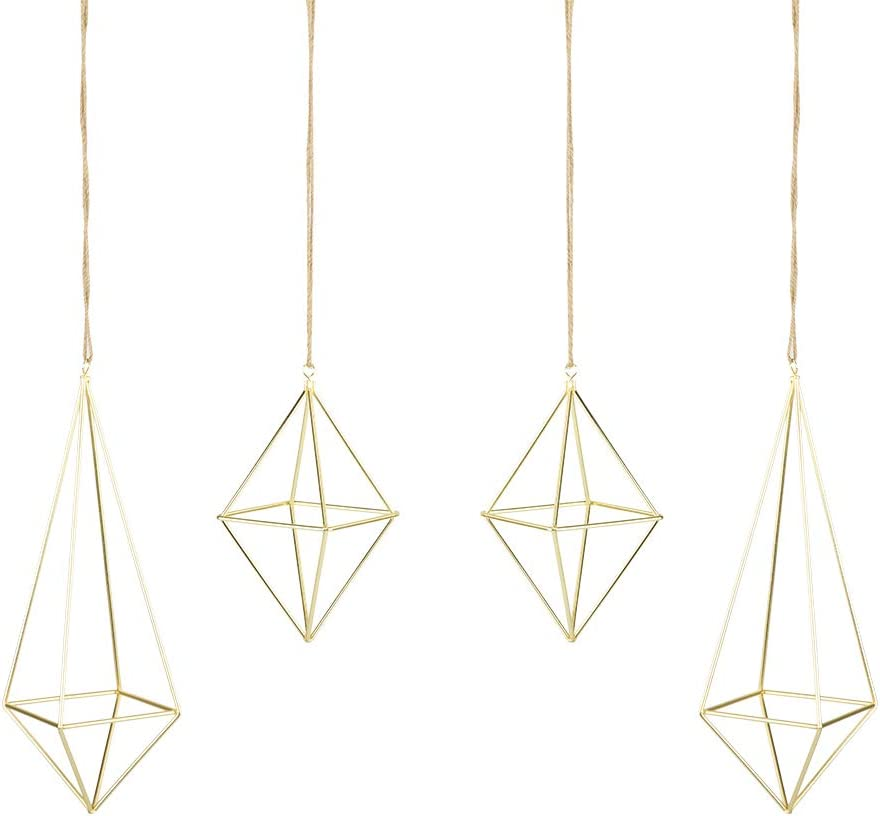 libproqia 4 Pack Air Plant Holder Gold Metal Himmeli Decor Modern Geometric Planter Hanging Airplants Rack Tillandsia Hanger Stand for Home Office Wedding Party (Gold)