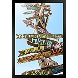 Key West Florida Wooden Directional Signs Photo Black Wood Framed Art Poster 14x20
