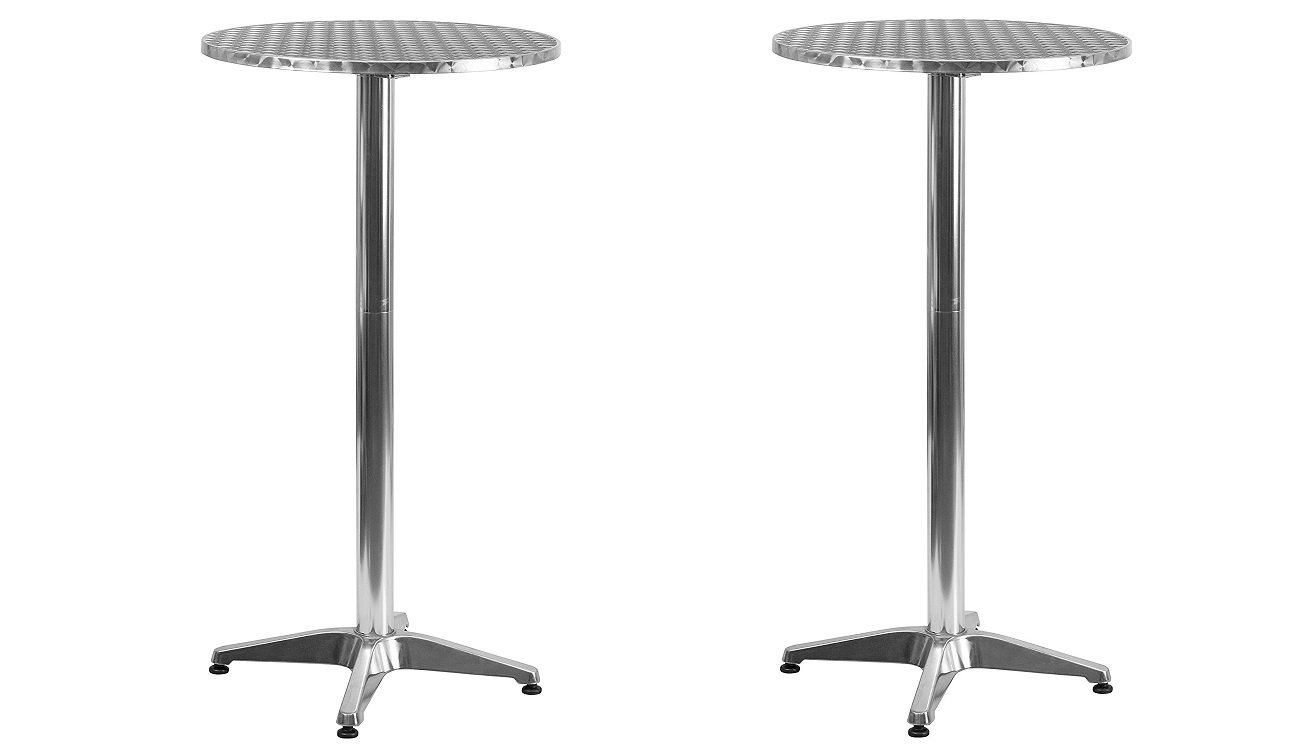 Flash Furniture 23.25'' Round Aluminum Indoor-Outdoor Folding Bar Height Table with Base (Pack of 2)