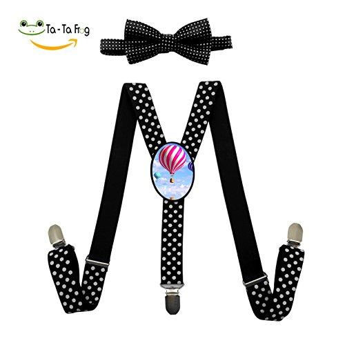Hot Air Balloon Adjustable Y-Back Suspender Custom Unisex Gallusus Wave Point Bow (Hot Air Balloon Costumes)