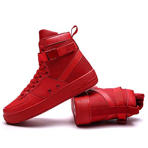 ROSEUNION Herren Mode High Top Leder Street Sneaker Trainer Schnüren Breathable Sport Freizeit Schuhe mit Klettverschluss Men Running Shoes Sports Style3-Rot