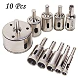 Diamond Tool Drill Bit Pulison 10 PCS Tile Hole Saw Hollow Core Extractor Remover Tools Hole Saws for Glass, Porcelain, Ceramic, Granite (6-50mm)