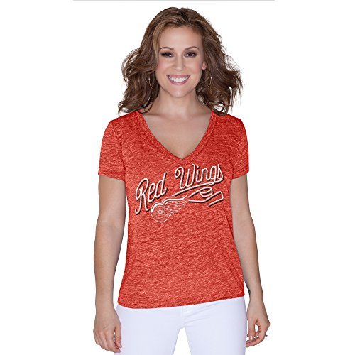 NHL Detroit Red Wings Women's All American Tri Blend V-Neck Top, Large, Red Red Nhl Shirt