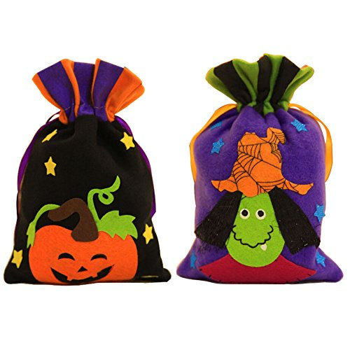 Halloween Trick or Treat Candy Bags For Kids 2 Pack, Drawstring Bag with Pumpkin and Witch (Day After Halloween Candy Sales)