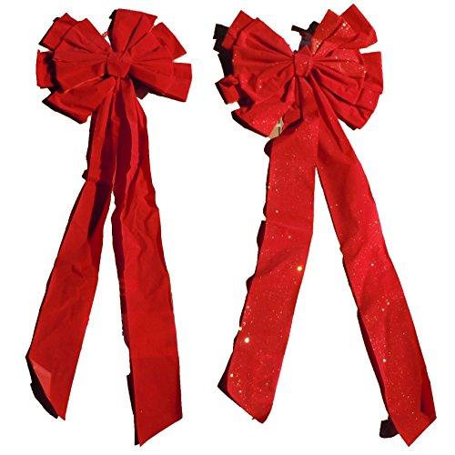 (Christmas Holiday Giant Red Velvet Bow, Glitter & Non-Glitter- 2, 4 & 8 Packs Available (1 Glitter & 1 Non-Glitter))