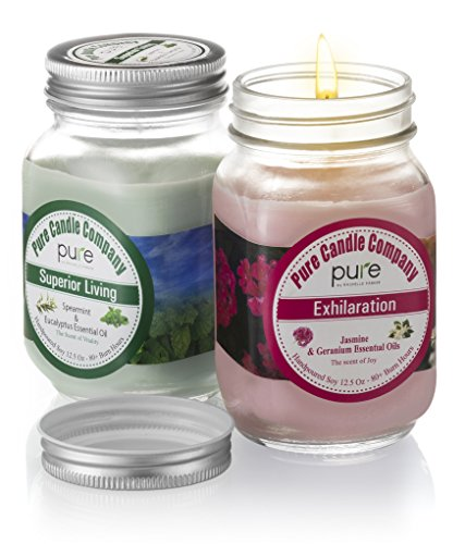 PURE Naturally Scented Aromatherapy Candles Gift Set includes Jasmine Geranium Soy Candle and Spearmint Eucalyptus Large Mason Jar Candle 12.5 oz. Natural Home Fragrance Candle is Best Women Gift! (Kosher Gift Baskets Online)