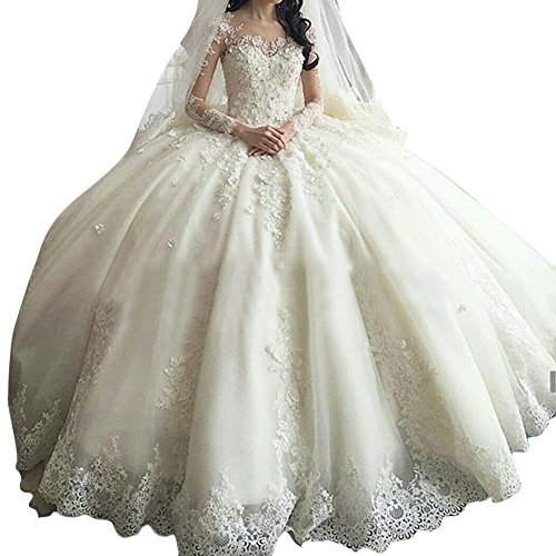 Kevins Bridal Luxury Lace Wedding Dresses Long Sleeves Ball Gown Cathedral Train White Size 12 (Cathedral Dress Wedding Train)