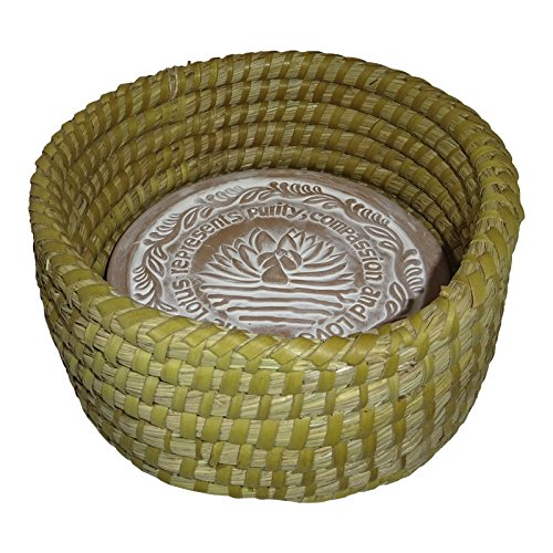 The Crabby Nook Small Warming Bread Basket w Lotus Warmer Tile Stone Hand Woven For Rolls Appetizers 8 inch