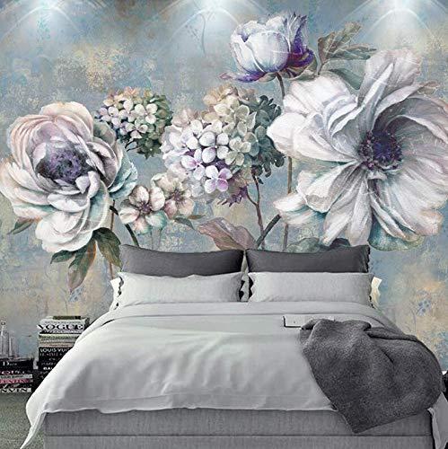 Nordic Ölgemälde Handgemalte Blumen Schlafzimmer Studio Wohnzimmer Hintergrundbild Tapete Retro Ölgemälde Blumen Große Fresko, 350 × 245 cm