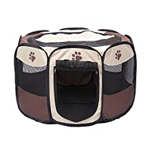 "Yusenpet 28"" Foldable Portable Pet Playpen Enclosures Exercise Pen Kennel Pet Yard 600D Oxford Cloth for Dog/Cat/Rabbit/Puppy (28""x28""x18""H)"