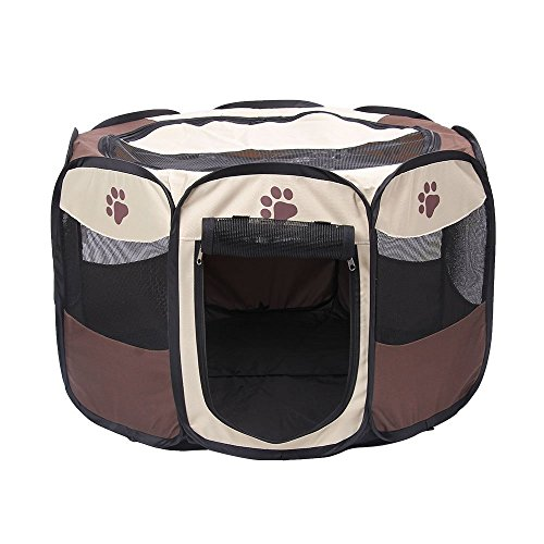 ANSON Brown 35 inch Animal Playpen for Pet Exercise Pen Kennel 600d Oxford Cloth,Outdoor Yard (L(35