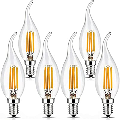 BRIMAX Candelabra Led Bulbs Dimmable, E12 Base, 2700K Yellow Glow, Filament Led Candle Light Bulbs for Foyer Chandeliers, Celling Fans and Other Wall Fixtures