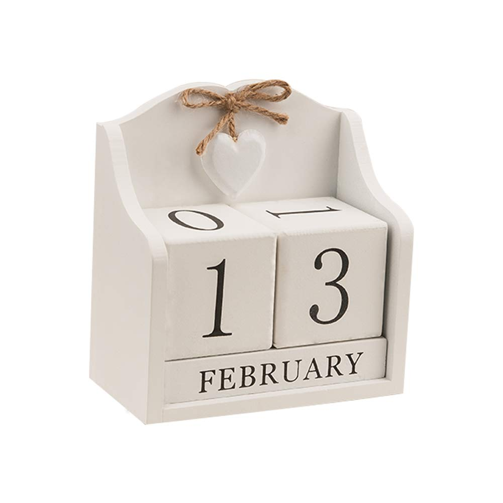 Obling Wood Blocks Perpetual Calendar Desk Accessory Chic Day Month Number for Home and Office (Creamy White)